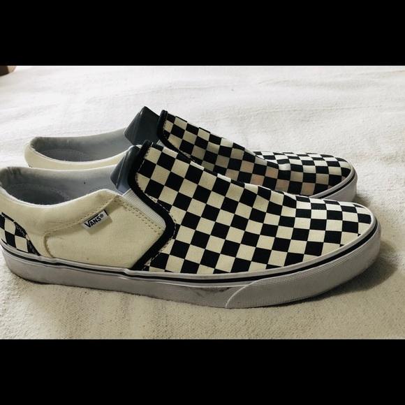 Vans White Checkered Poshmark ShoesLow Black Slip Off On qSMVUzGp